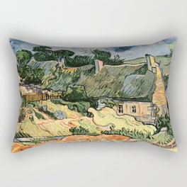 Vincent Van Gogh Thatched Cottages at Cordeville 1890 Rectangular Pillow