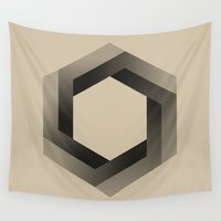 psychology Wall Tapestries featuring Bequiz sepia by Bequiz