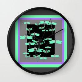 FLIGHT OF GREEN DRAGONFLIES VIOLET-GREY ART Wall Clock