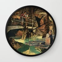 nick cave Wall Clocks featuring Cave by Sarah Eisenlohr