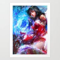 league of legends Art Prints featuring League of Legends - Ahri by Raditya Giga
