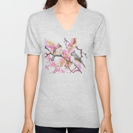 Titmice and Cherry Blossom, spring bird cottage style pink gray design Unisex V-Neck