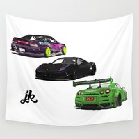 cars Wall Tapestries featuring Vectored Cars by Joker Designs
