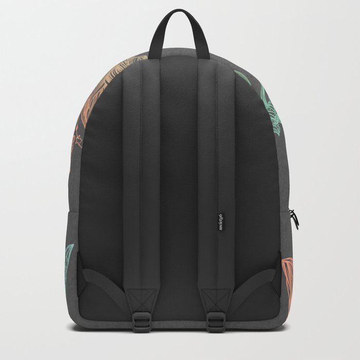 Tribal Arrows Turquoise Coral Gradient on Gray Backpack
