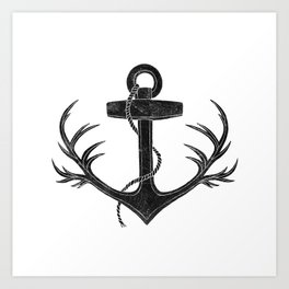 Antlered Anchor Art Print