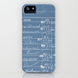 Library Card 23322 Negative Blue iPhone Case