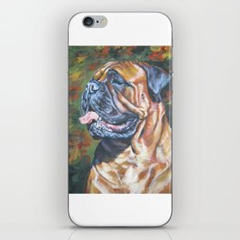 Bullmastiff dog art portrait from an original painting by L.A.Shepard iPhone Skin