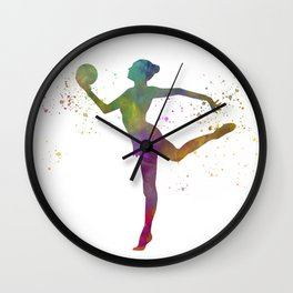 Young woman practices rhythmic gymnastics in watercolor 10 Wall Clock