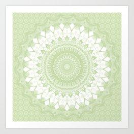 Boho Pastel Green Mandala Art Print