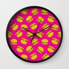 Pink Burger Pattern Wall Clock