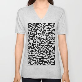 Floral black and white Pattern 1 Unisex V-Neck