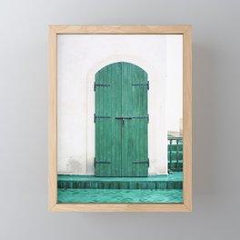 Le Jardin Secret | Turquoise wooden door in Marrakech | Colorful travel photograph wanderlust Framed Mini Art Print