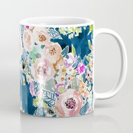 NAVY SO LUSCIOUS Colorful Watercolor Floral Coffee Mug