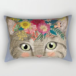 Grey cat with flower crown Rectangular Pillow