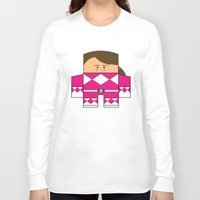 power rangers Long Sleeve T-shirts featuring Mighty Morphin Power Rangers - The Original Pink Ranger Unmasked (Kimberly) by Choo Koon Designs