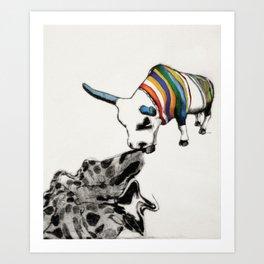 COW Eating a Dress Art Print
