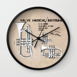 Valve musical instrument patent art Wall Clock