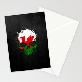 Flag of Wales on a Chaotic Splatter Skull Stationery Cards