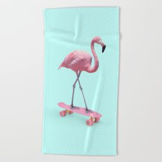 SKATE FLAMINGO Beach Towel