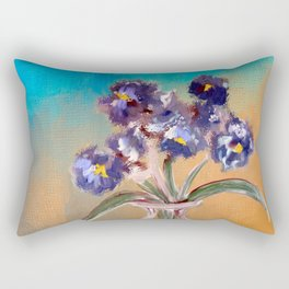 Purple And Blue Pansies In Glass Vase Rectangular Pillow