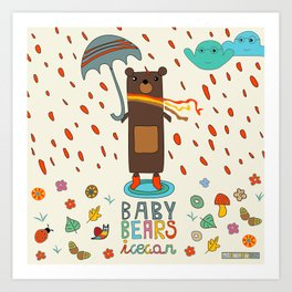 Baby Bears Icecar Art Print