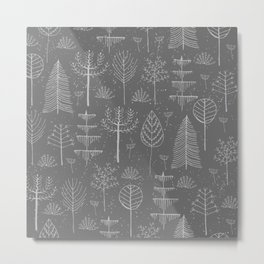 Abstract Gray White Winter Snowflakes Trees Pattern Metal Print