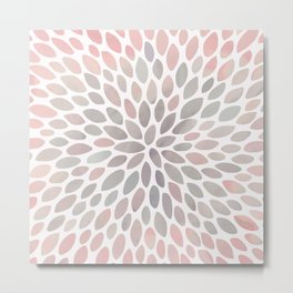 Floral, Abstract Watercolor, Coral and Gray, Floral Prints Metal Print