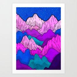The night time hills Art Print