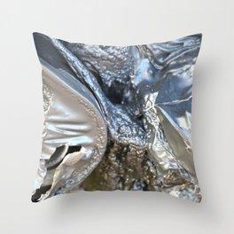black plastic melts Throw Pillow