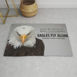 Eagles Fly Alone - Motivational Quotes Rug