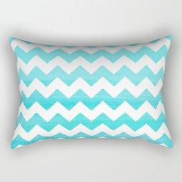Aqua Blue chevron ZigZag Herringbone - watercolor on white pattern #Society6 Rectangular Pillow