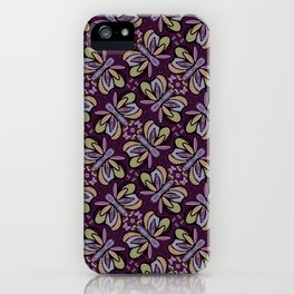 Field of Lilac Butterflies , Purple Wings Patterns in Geometric Formation with Flowers iPhone Case