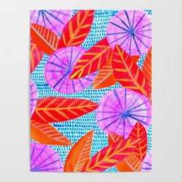 Circles and Leaves Pattern Poster