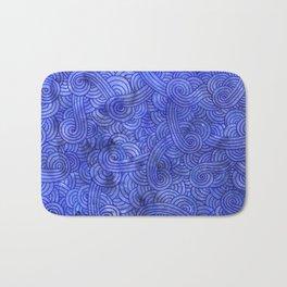 Royal blue swirls doodles Bath Mat