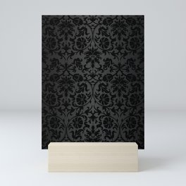 Black Damask Pattern Design Mini Art Print