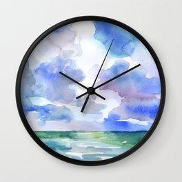 Abstract Ocean Watercolor Wall Clock