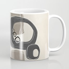 Retro Abstract Design in Charcoal Grey and Taupe Coffee Mug