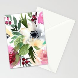 anemone and rose floral watercolour Stationery Cards