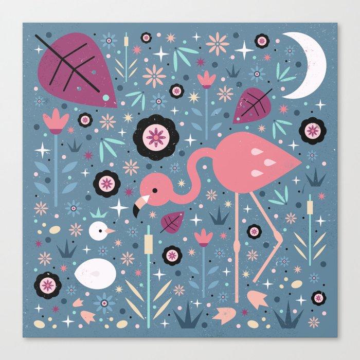 Flamingo & Chick Canvas Print