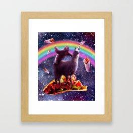 Space Sloth Riding Llama Unicorn - Taco & Burrito Framed Art Print