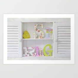 Happy Spring Wooden Letters Art Print