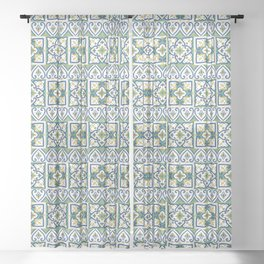 Italian Tile Pattern – Sicilian ceramic from Caltagirone Sheer Curtain