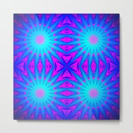 Fuchsia Pink & Blue Starburst Metal Print