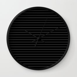 Black White Pinstripe Minimalist Wall Clock