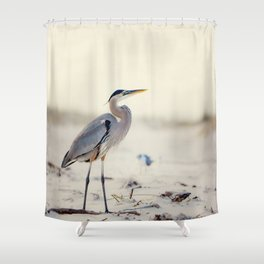 Great Blue Heron at the Beach Shower Curtain