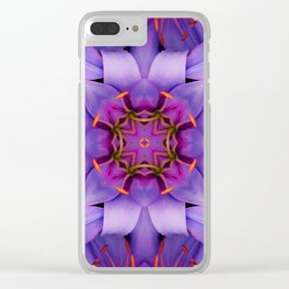 Purple Flower Kaleidoscope, Scanography Art Clear iPhone Case
