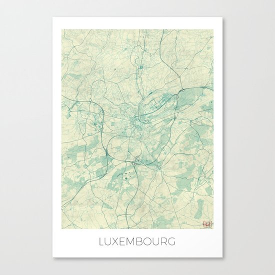 Luxembourg Map Blue Vintage Canvas Print
