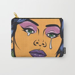 Blue Crying Comic Girl Carry-All Pouch