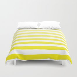 Sun Yellow Handdrawn horizontal Beach Stripes - Mix and Match with Simplicity of Life Duvet Cover