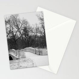 Winter Solitude   Black and White Nature Photography of Snowy Bridge in St. Louis Forest Park Stationery Cards